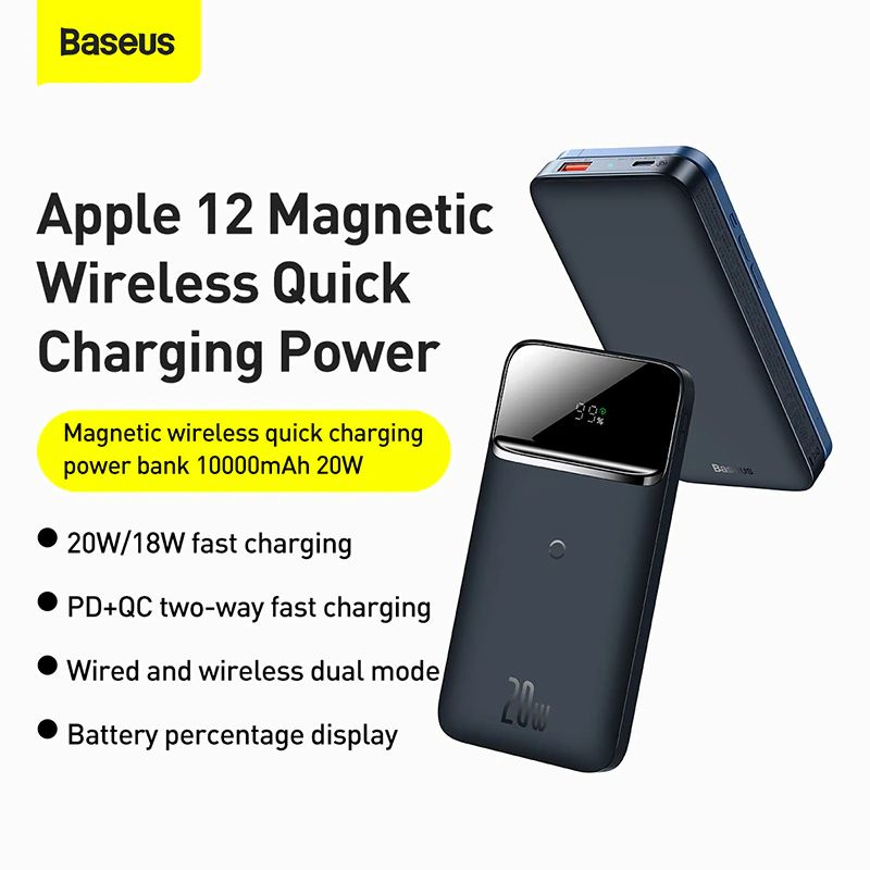 Baseus 10000mah Portable 20w Magnetic Wireless Charger Power Bank (6)