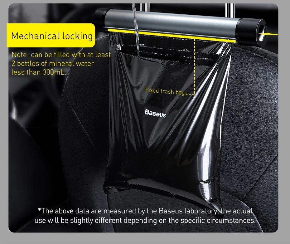 Baseus Car Rear Seat Back Trash Bag Metal Auto Organizer Storage Garba ( (8)