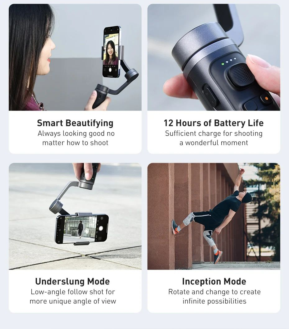 Baseus Control Smartphone Handheld Folding Gimbal Stabilizer (4)