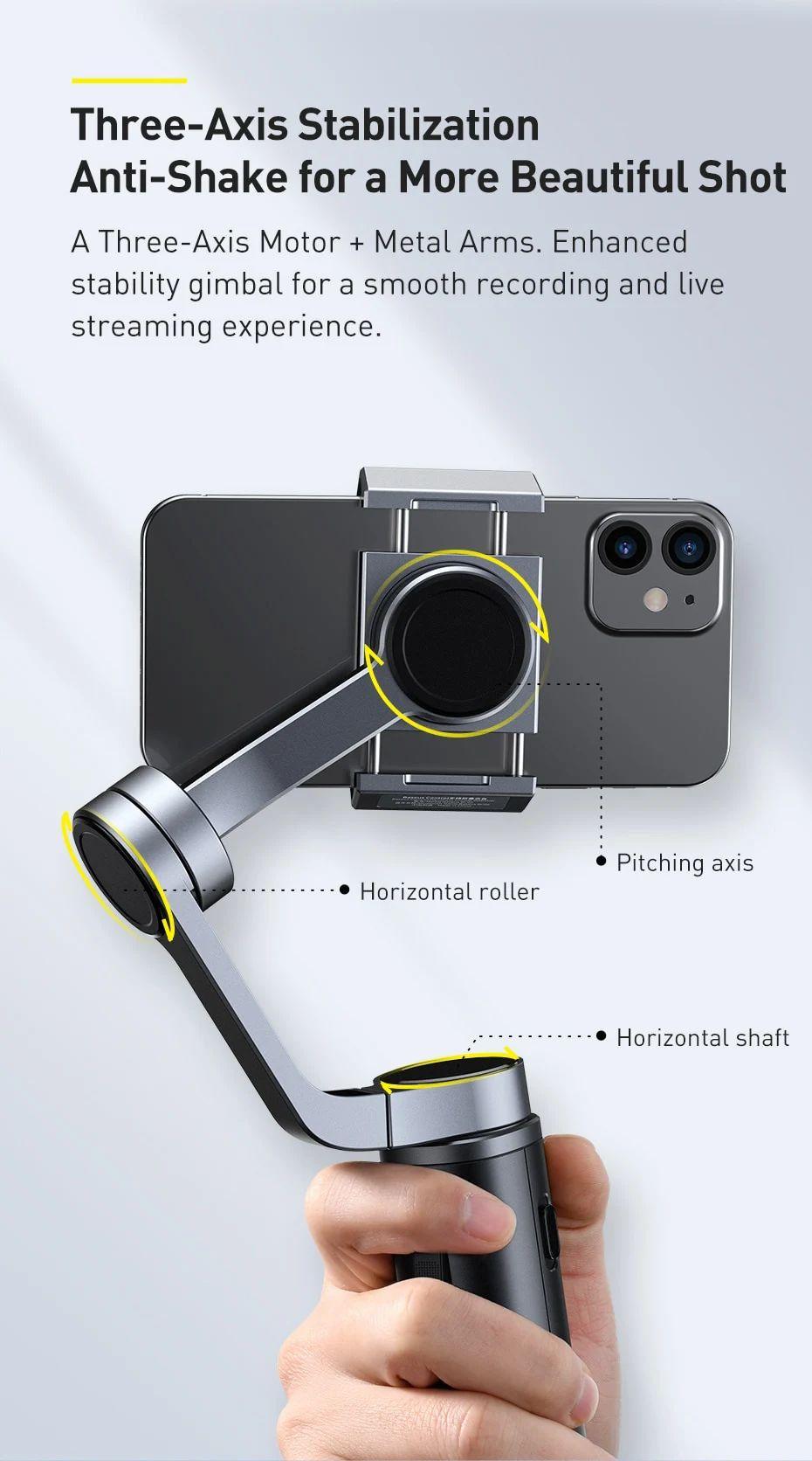 Baseus Control Smartphone Handheld Folding Gimbal Stabilizer (5)