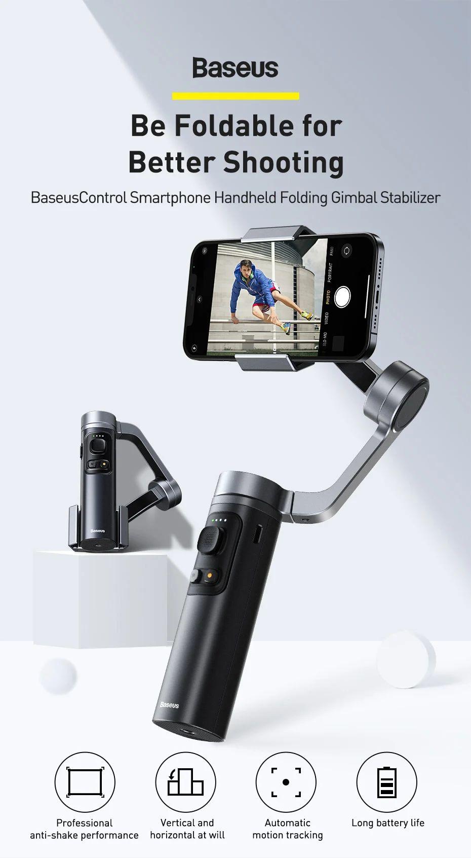 Baseus Control Smartphone Handheld Folding Gimbal Stabilizer (6)