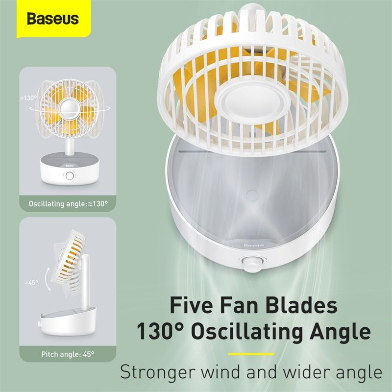 Baseus Hermit Desktop Wireless Charger With Oscillating Fan White (1)