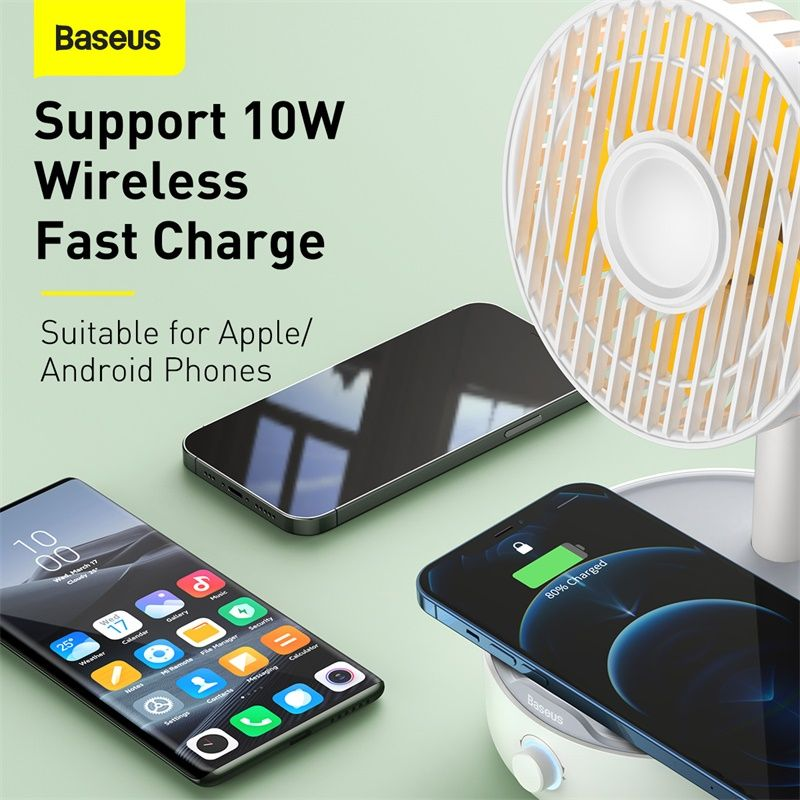 Baseus Hermit Desktop Wireless Charger With Oscillating Fan White (2)