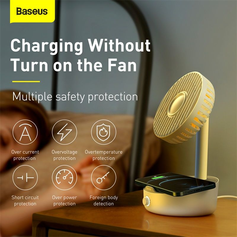 Baseus Hermit Desktop Wireless Charger With Oscillating Fan White (3)