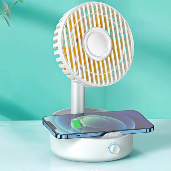 Baseus Hermit Desktop Wireless Charger With Oscillating Fan White (5)