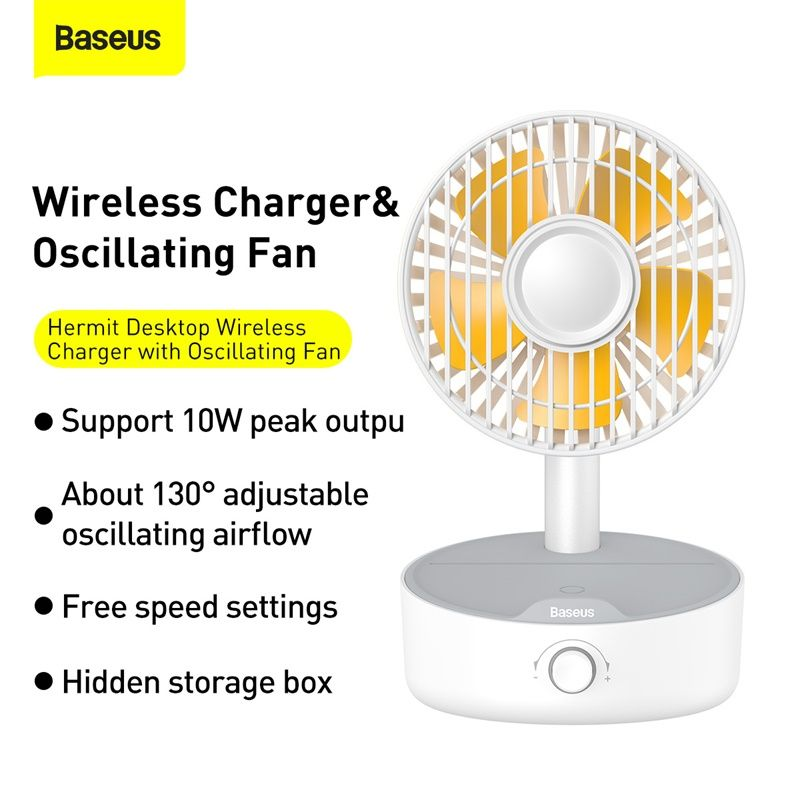 Baseus Hermit Desktop Wireless Charger With Oscillating Fan White (7)