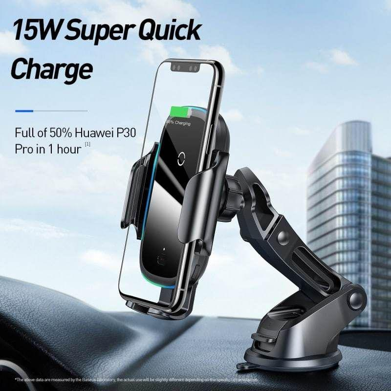 Baseus Light Electric Holder Wireless Charger 15w Car Charger With Infrared Sensor (1)