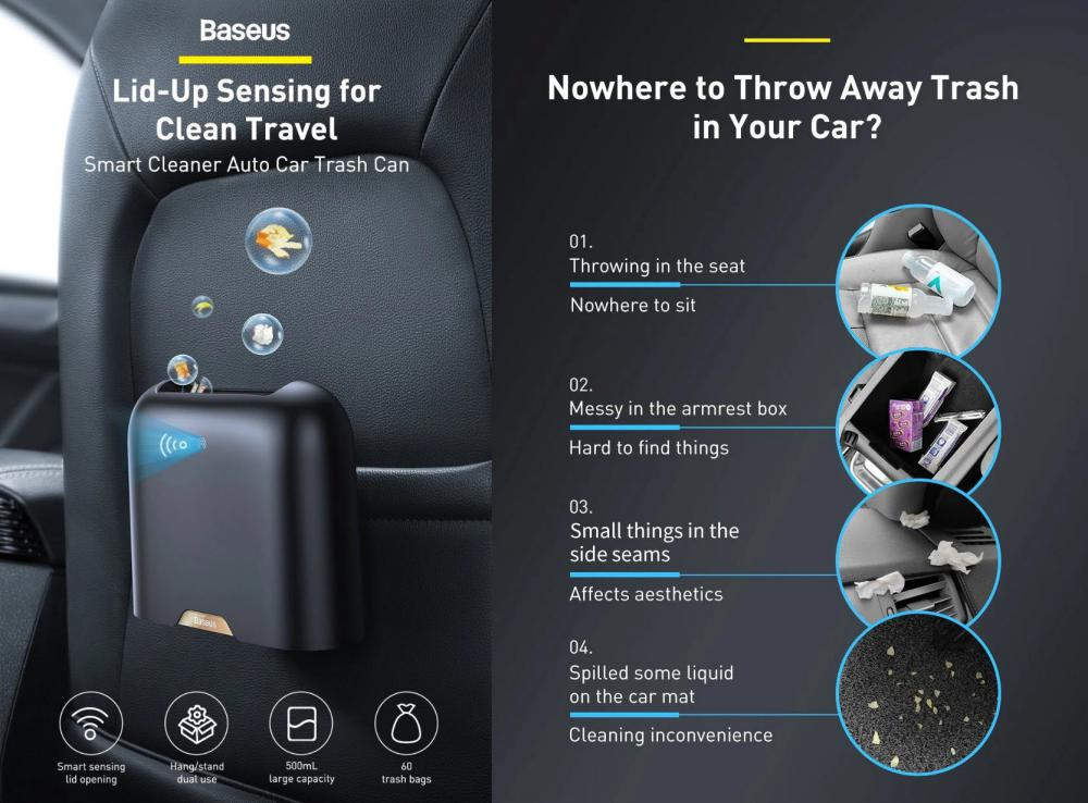 Baseus Smart Cleaner Auto Car Trash Can With Trash Bags (5)