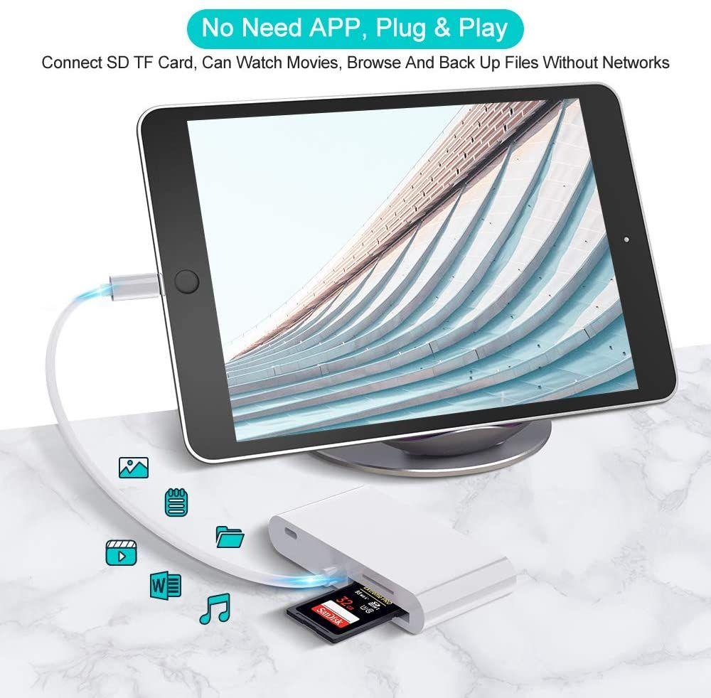 Coteetci Lightning Otg Card Reader 6 In 1 Camera Adapter With Camera Memo (