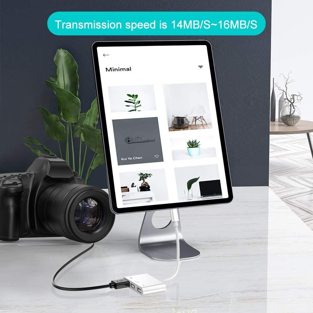 Coteetci Lightning Otg Card Reader 6 In 1 Camera Adapter With Camera Memo (1)
