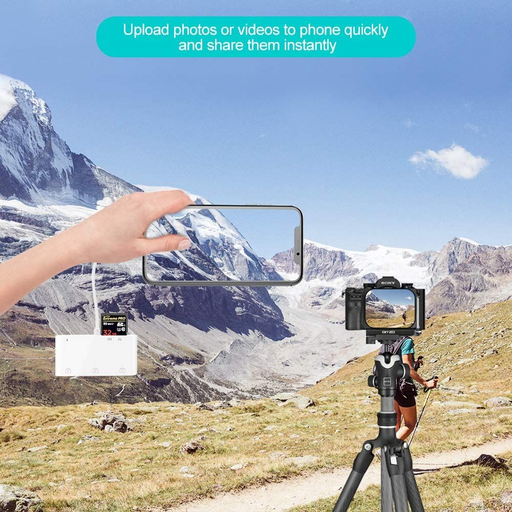 Coteetci Lightning Otg Card Reader 6 In 1 Camera Adapter With Camera Memo ( (6)