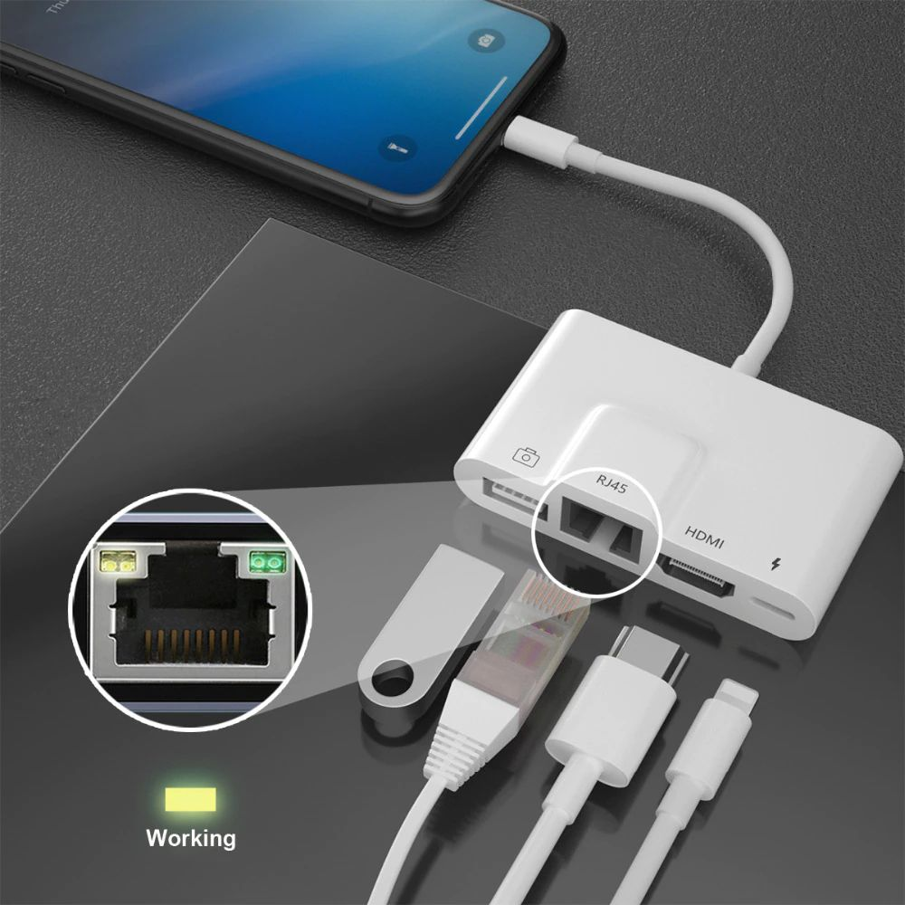 Coteetci Lightning To 4in1 100mbps Lan Rj45 Network Hdmi Usb Otg Camera Charging Adapter (3)