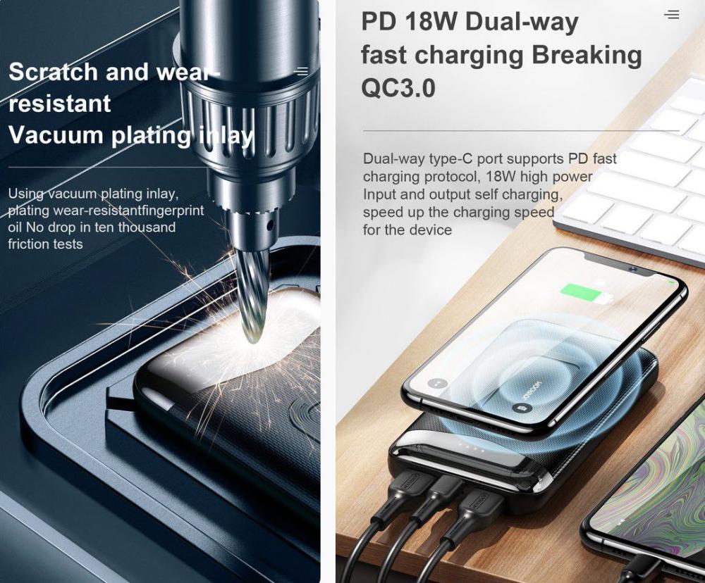 Joyroom D Qp189 Pd10w Wireless Charger 10000mah Dual Way Charing Power Bank (3)