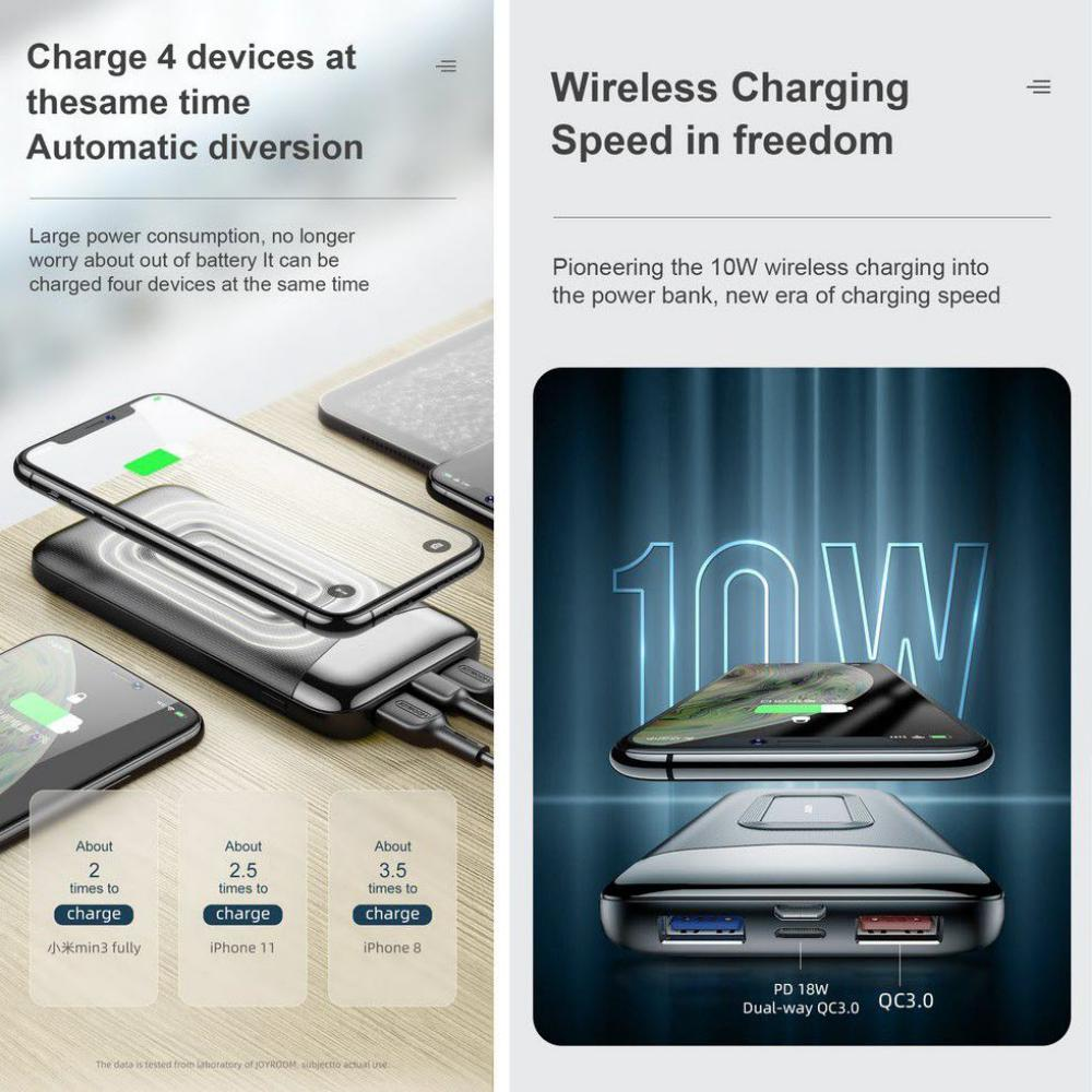 Joyroom D Qp189 Pd10w Wireless Charger 10000mah Dual Way Charing Power Bank (4)
