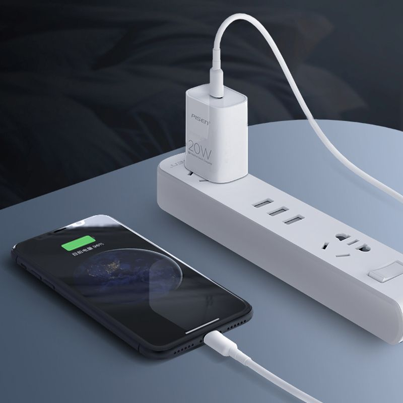 Pisen 20w Adaptive Quick Charging Adapter With Type C To Lightning Cable (6)