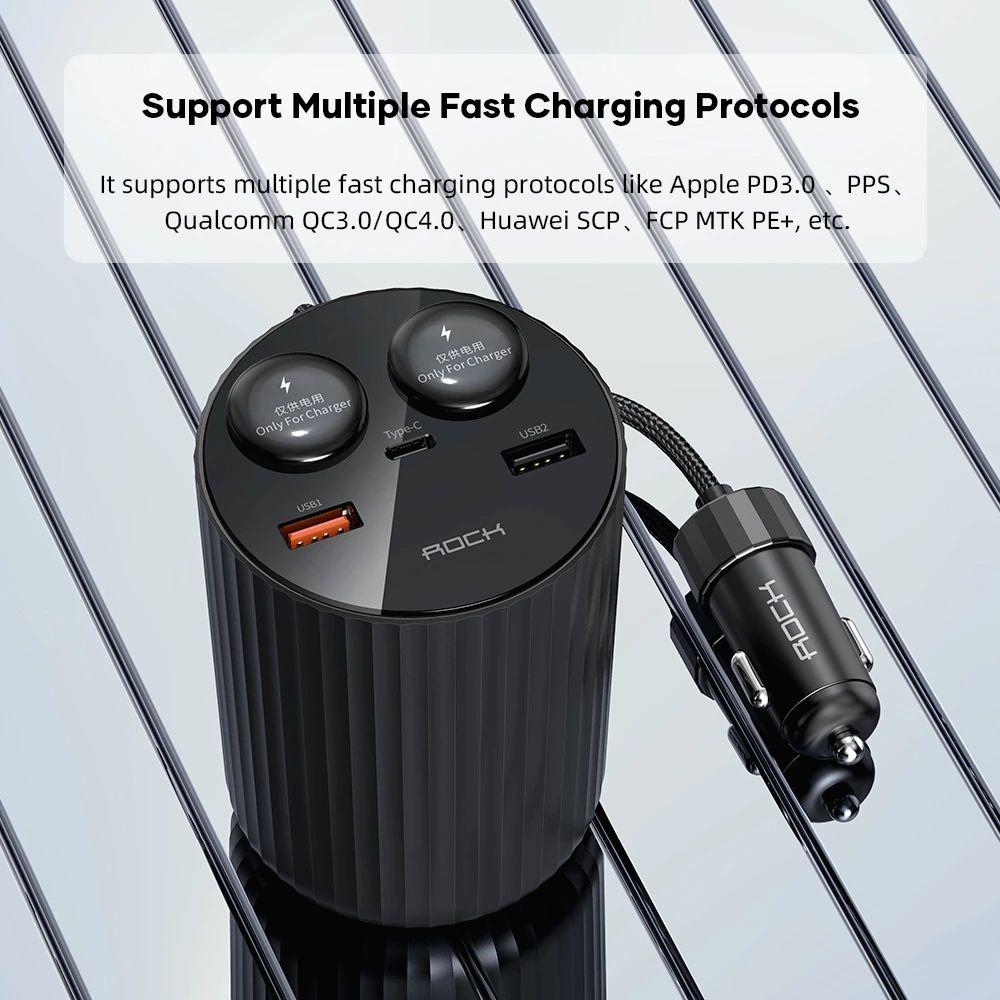 Rock 5a Led Display Dual Usb Car Charger Type C Qc 4 0 Pd 3 0 100w Cigarette Splitter (2)