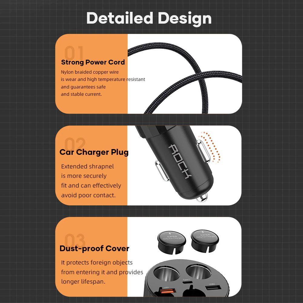 Rock 5a Led Display Dual Usb Car Charger Type C Qc 4 0 Pd 3 0 100w Cigarette Splitter (3)