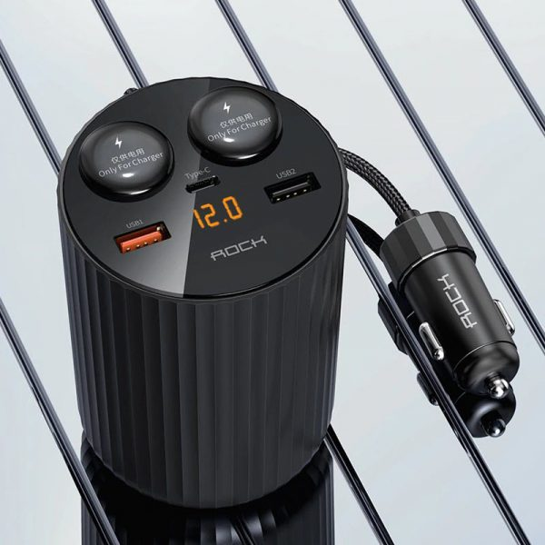 Rock 5a Led Display Dual Usb Car Charger Type C Qc 4 0 Pd 3 0 100w Cigarette Splitter (7)