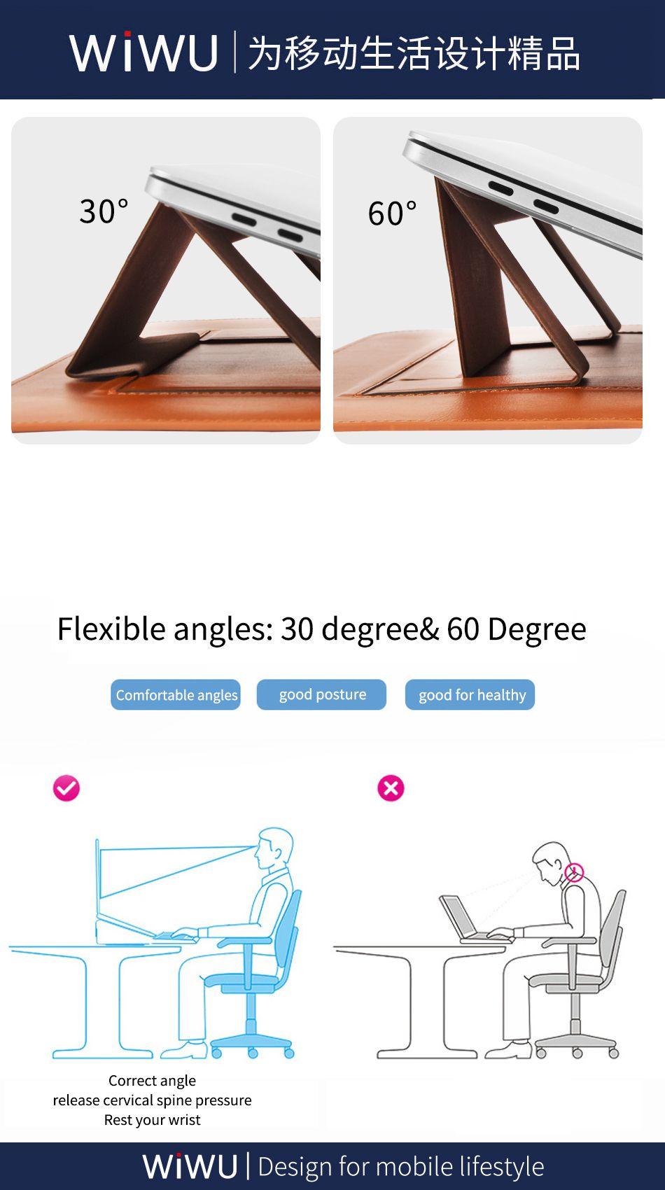 Wiwu Skin Pro Pu Leather Portable Stand Sleeve For Macbook (4)