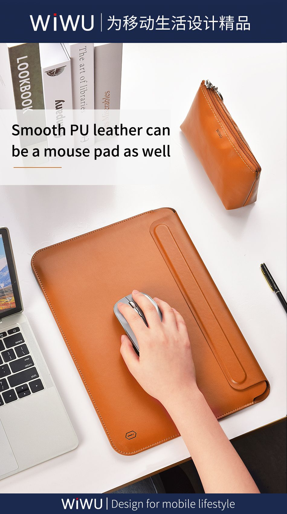 Wiwu Skin Pro Pu Leather Portable Stand Sleeve For Macbook (5)