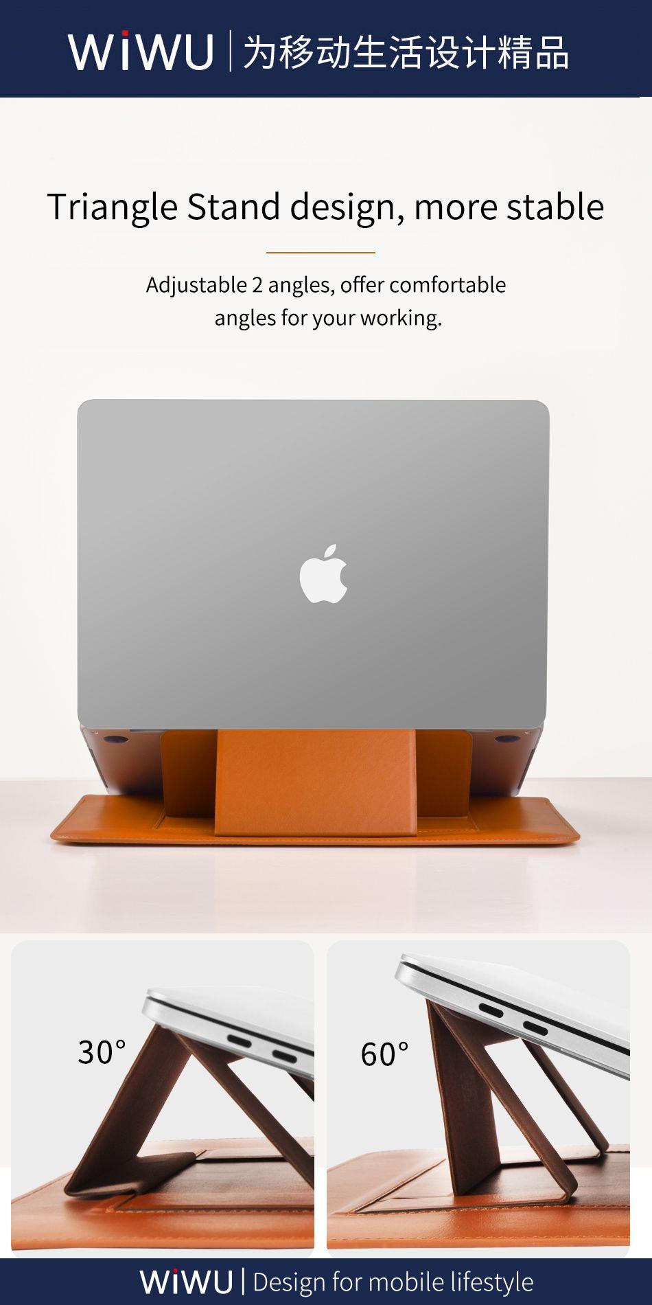 Wiwu Skin Pro Pu Leather Portable Stand Sleeve For Macbook (6)
