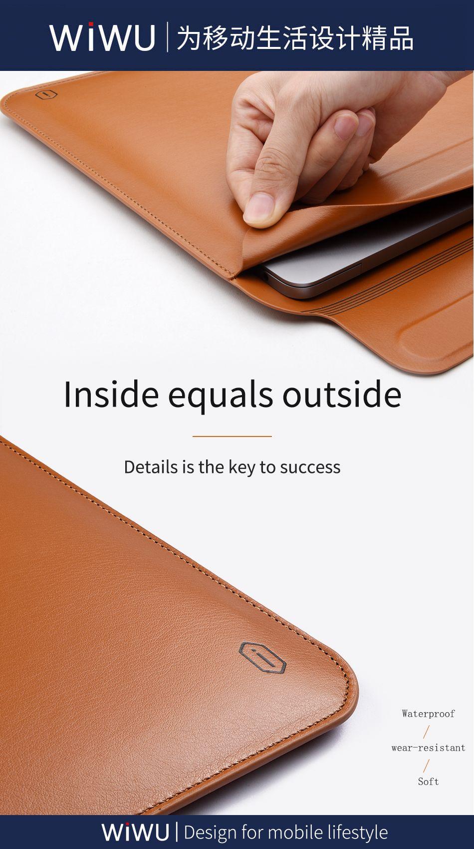 Wiwu Skin Pro Pu Leather Portable Stand Sleeve For Macbook (8)
