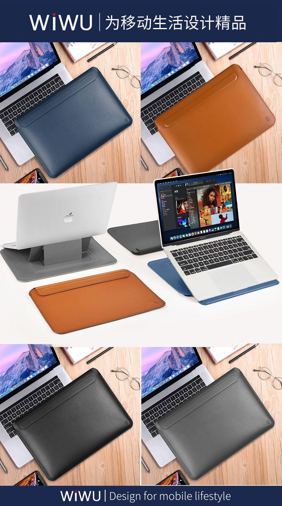 Wiwu Skin Pro Pu Leather Portable Stand Sleeve For Macbook (9)