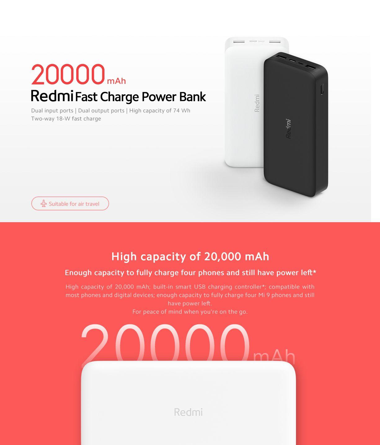 Xiaomi Redmi 20000mah 18w Fast Charging Power Bank Black (4)