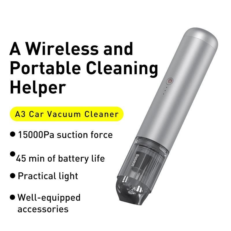 Baseus A3 15000pa Portable Car Vacuum Cleaner With Suction Cleaning Tool Silver (1)