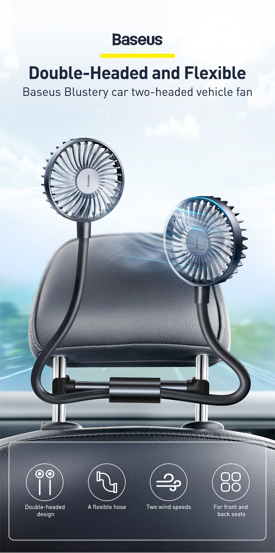 Baseus Blustery Car Two Headed Fan 360 Degree Air Cooling 2 Speed Adjustable Vehicle Fa (1 (3)