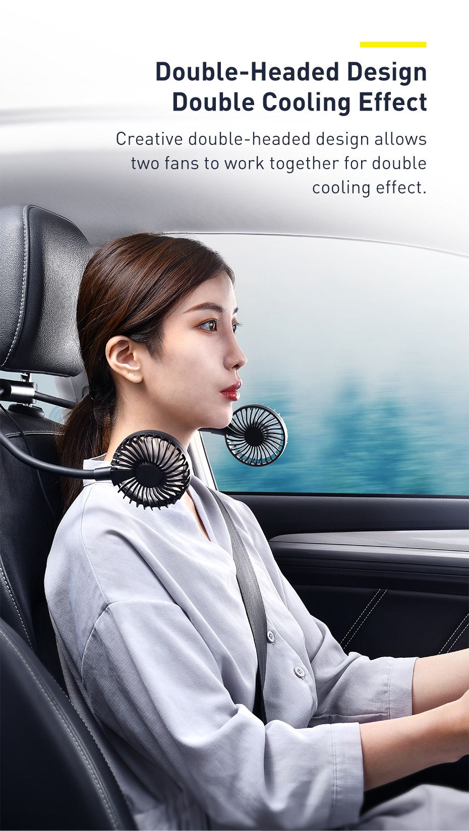 Baseus Blustery Car Two Headed Fan 360 Degree Air Cooling 2 Speed Adjustable Vehicle Fa (1 (4)