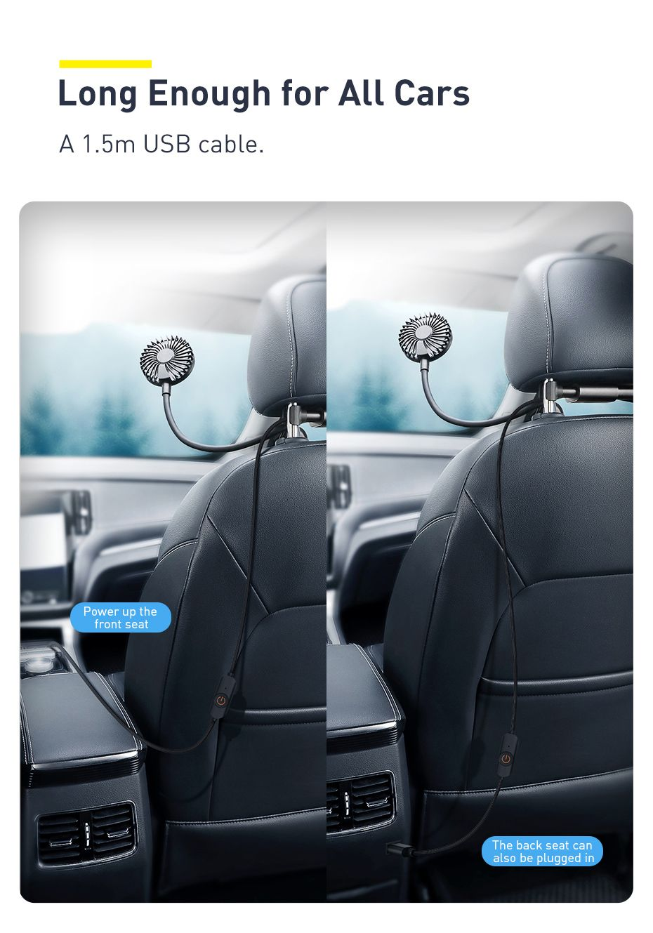 Baseus Blustery Car Two Headed Fan 360 Degree Air Cooling 2 Speed Adjustable Vehicle Fa (1 (9)