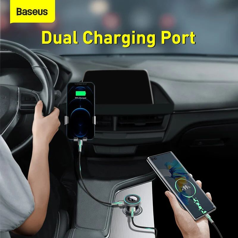 Baseus Enjoy Car Wireless Mp3 Charger Wireless 5 05v 3 4a Dual Usb Adapter With Led Dig ( (3)