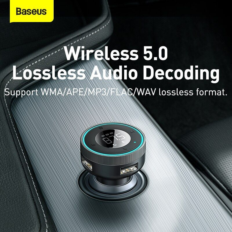 Baseus Enjoy Car Wireless Mp3 Charger Wireless 5 05v 3 4a Dual Usb Adapter With Led Dig ( (4)