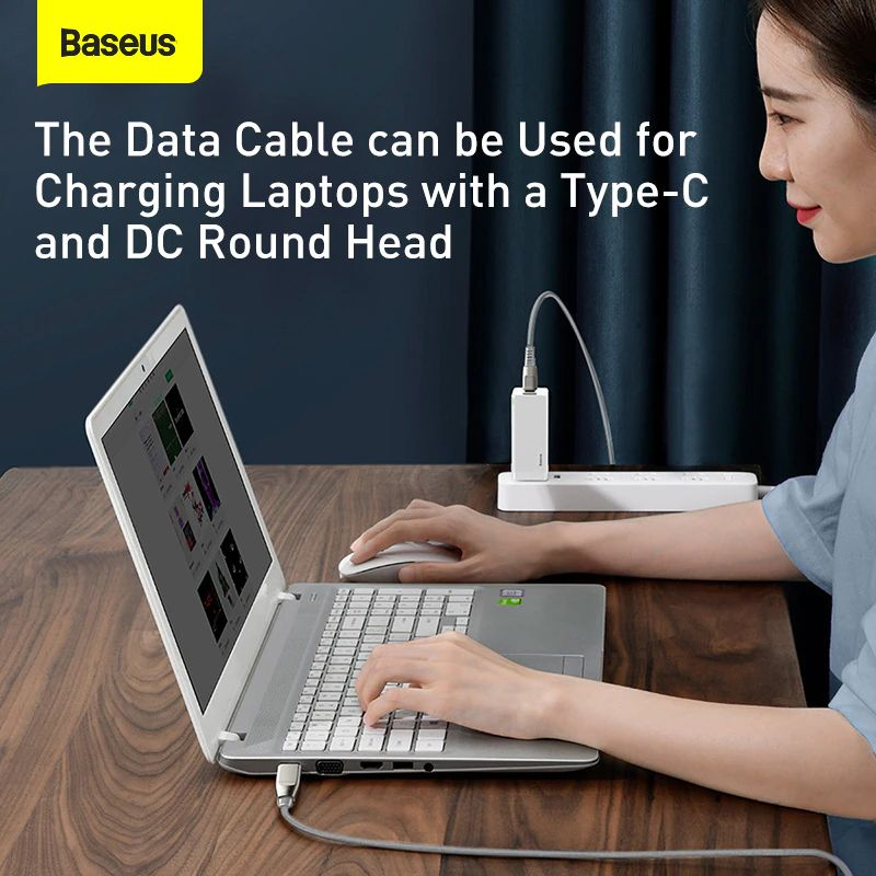 Baseus Flash Series One For Two Cable With Square Head Type C To Cdc 100w For Laptop And Phones (1)