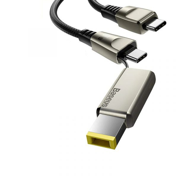 Baseus Flash Series One For Two Cable With Square Head Type C To Cdc 100w For Laptop And Phones (2)