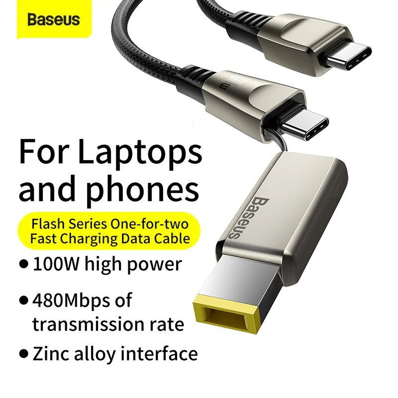 Baseus Flash Series One For Two Cable With Square Head Type C To Cdc 100w For Laptop And Phones (3)