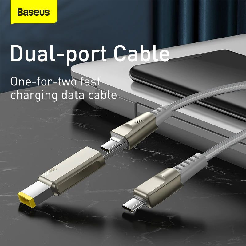 Baseus Flash Series One For Two Cable With Square Head Type C To Cdc 100w For Laptop And Phones (4)