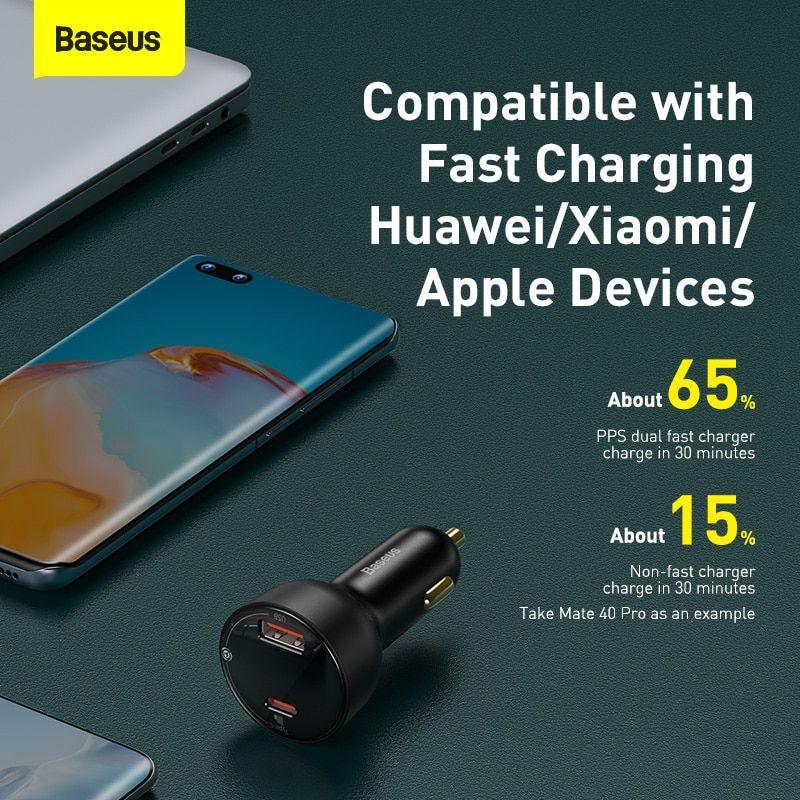 Baseus Pd 100w Usb Car Charger Quick Charge 4 0 Qc4 0 Qc3 0 Type C Usb (5)