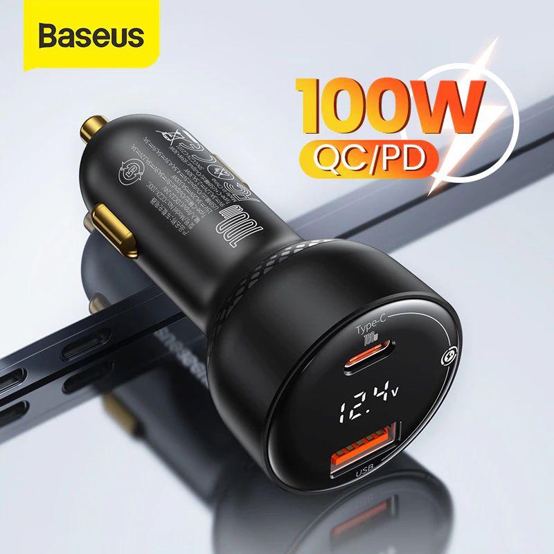 Baseus Pd 100w Usb Car Charger Quick Charge 4 0 Qc4 0 Qc3 0 Type C Usb (6)