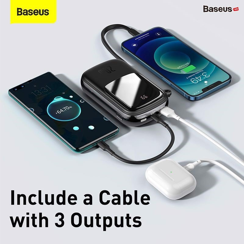Baseus Qpow Digital Display Quick Charging Power Bank 20000mah 20w With Ip Cable (1)