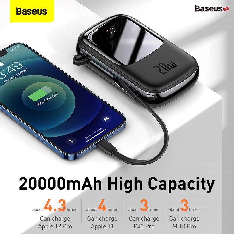 Baseus Qpow Digital Display Quick Charging Power Bank 20000mah 20w With Ip Cable (3)