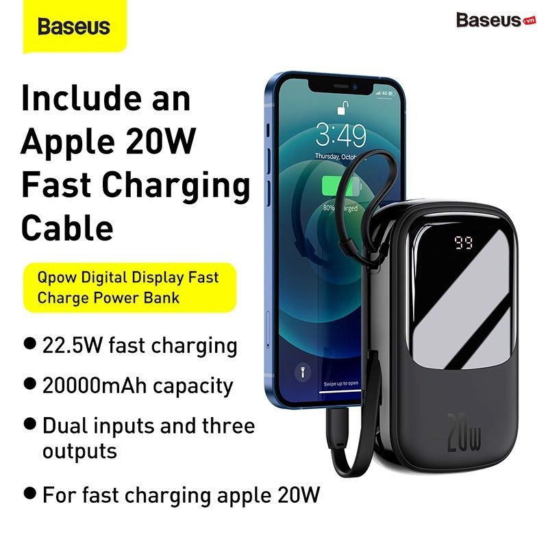 Baseus Qpow Digital Display Quick Charging Power Bank 20000mah 20w With Ip Cable (5)