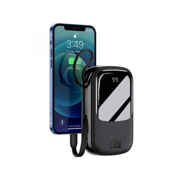 Baseus Qpow Digital Display Quick Charging Power Bank 20000mah 20w With Ip Cable