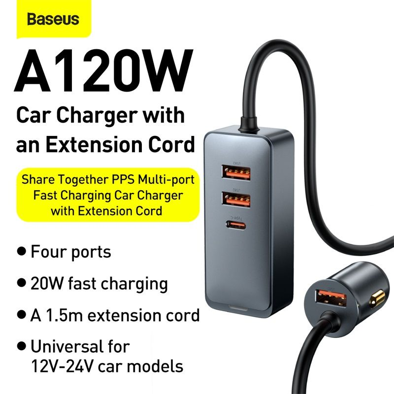 Baseus Share Together Pps Multi Port Fast Charging Car Charger With Extension Cord 120w 3u1c (1 (3)