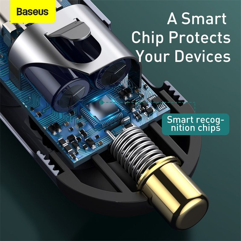 Baseus Share Together Pps Multi Port Fast Charging Car Charger With Extension Cord 120w 3u1c (1)