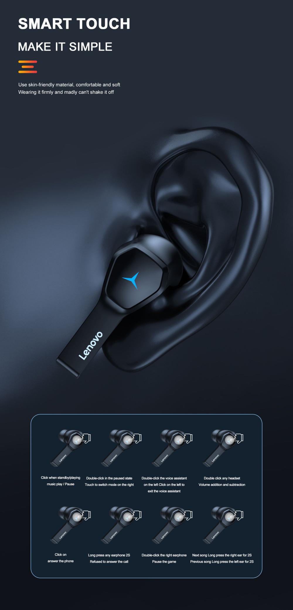 Lenovo Hq08 Gaming Wireless Bluetooth Earbuds (6)