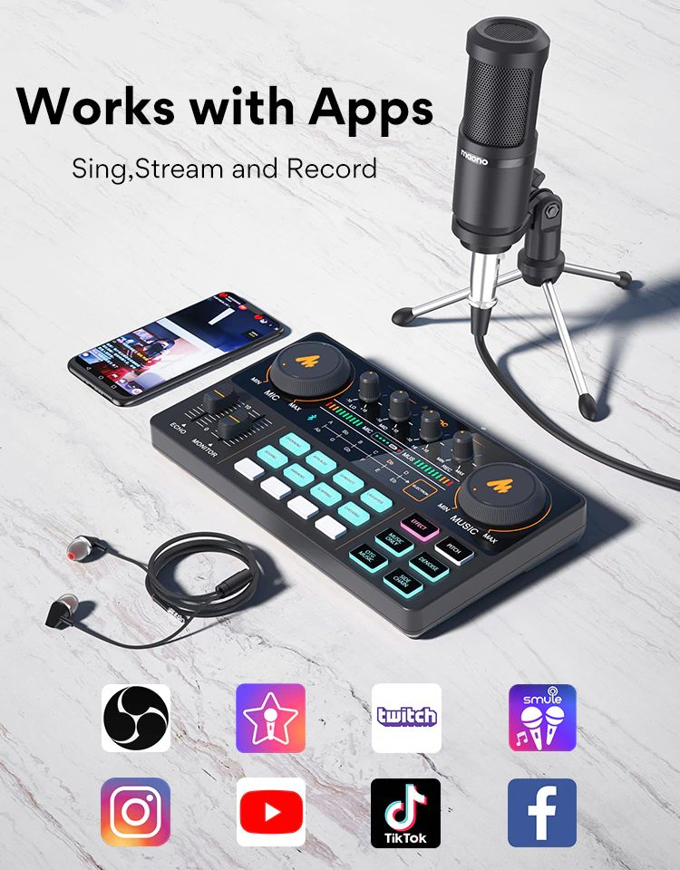Maonocaster Lite Au Am200 Portable All In One Podcast Production Studio With Condenser Mic (5)