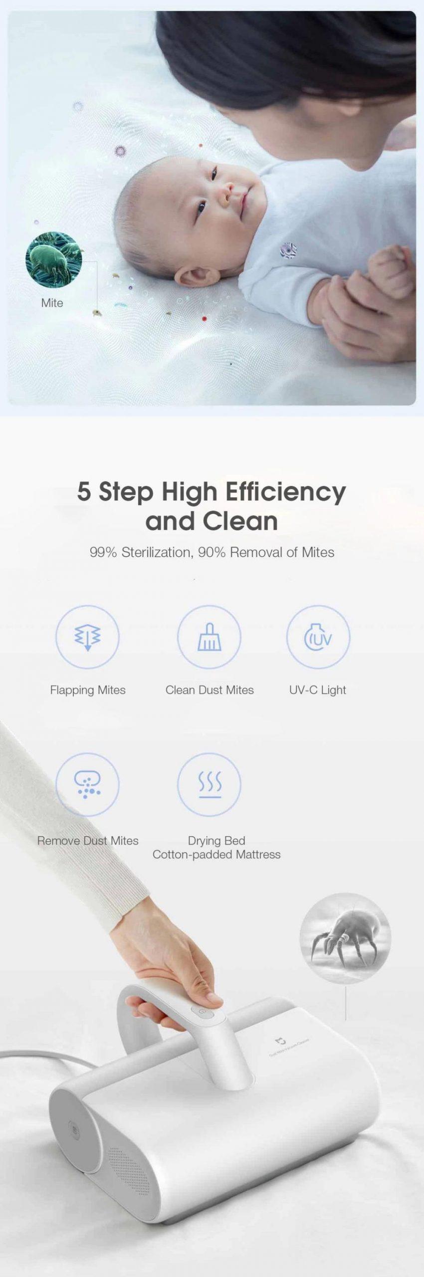 Mini Xiaomi Mijia Uv Sterilization Anti Mites Mattress Vacuum Cleaner 12000pa Strong Suction (5)