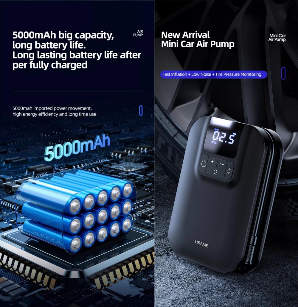 Usams Handheld Mini Smart Air Compressor Pump Car Tire Pressure Inflators (2)